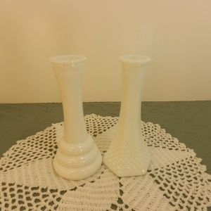 "Vintage Set of 2 Mini Milk Glass Flower Vase 6""T"